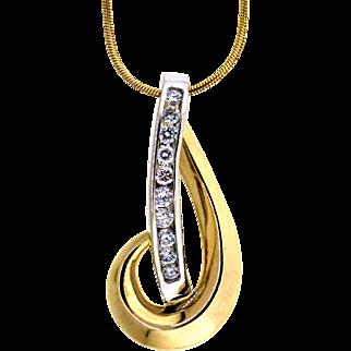 Enchanted Swirling Two Tone Diamond Pendant & Chain
