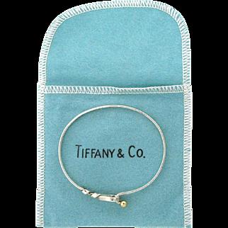 Vintage Tiffany & Co Sterling Silver & 14 karat Twist Loop Bangle Bracelet