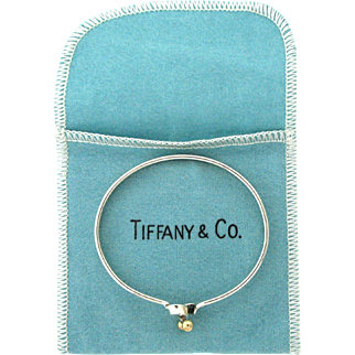 Vintage Tiffany & Co Sterling Silver & 14 Karat Hook Twist Bangle Bracelet