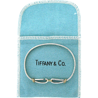 Vintage Tiffany & Co Sterling Silver & 14 Karat Circle Hook Bangle Bracelet