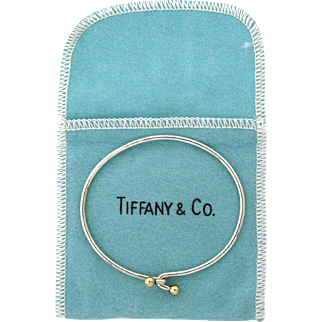 Vintage Tiffany & Co Sterling Silver & 14 karat Delicate Twist Hook Bangle Bracelet