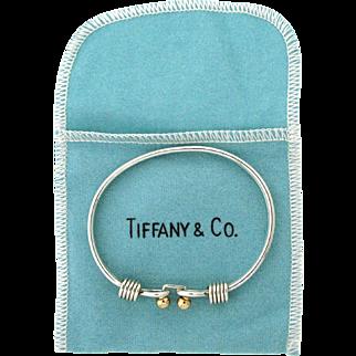 Vintage Tiffany & Co Sterling Silver & 14 karat Double Loop Bangle Bracelet