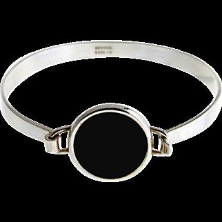 Danish Modern Silver and Onyx Bangle by Arne Johansen
