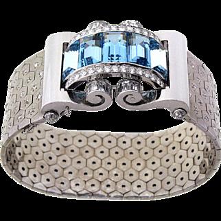 Fabulous Retro Platinum, White Gold, Aquamarine & Diamond Bracelet