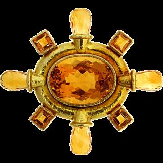 Spectacular Elizabeth Locke 18 karat Citrine Brooch