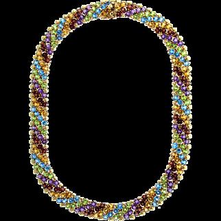 Vintage Citrine, Blue Topaz, Peridot, Amethyst & Garnet 14 karat Gold Collar Necklace