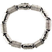 Ribbed and Hammered Cable Link Sterling Silver Bracelet