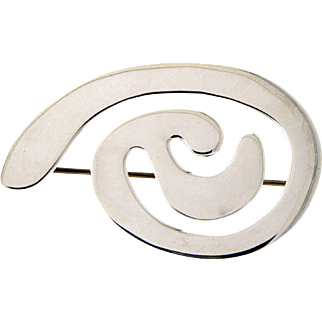 Suzanne St. Claire Abstract Sterling Brooch
