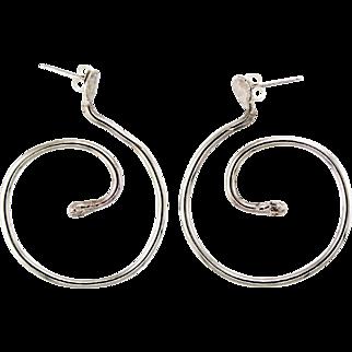 Abstract Swirling Silver Hoop Earrings