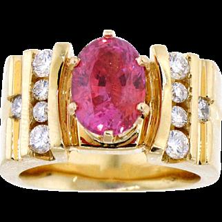 Striking Fancy Sapphire and Diamond 14 Karat Gold Ring