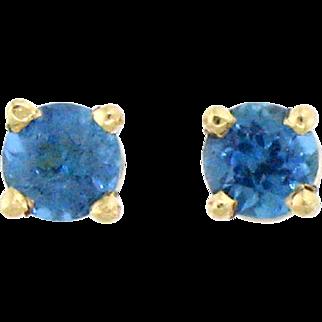 Dazzling Paraiba Tourmaline and 14 Karat Gold Stud Earrings