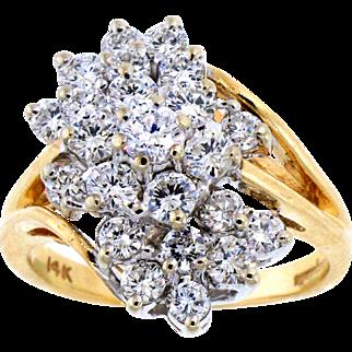Sparkling Diamond Waterfall Ring in 14 Karat Yellow Gold