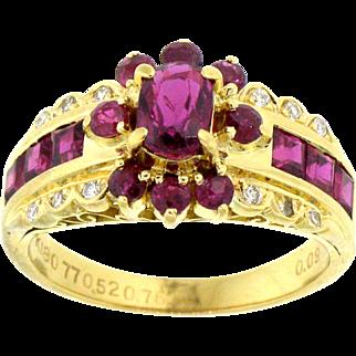 Enchanting Ruby and Diamond Ring in 18 karat yellow gold