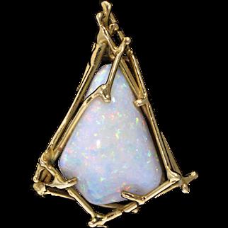 Radiant White Opal and 18 Karat Yellow Gold Pendant