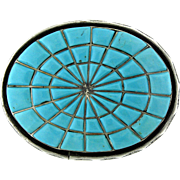 Turquoise and German Silver Belt Buckle by O. Alexius