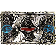 H. Boyd Signed Navajo Belt Buckle in Silver, Turquoise and Coral