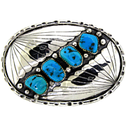 J. Bahe Signed Navajo Belt Buckle in Silver and Turquoise