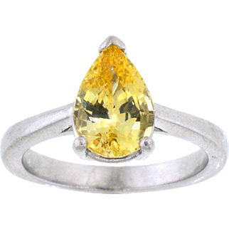 Gorgeous Natural Unheated Yellow Sapphire and Palladium Ring
