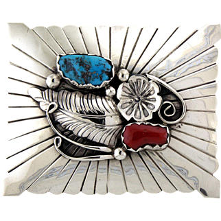 Signed Navajo Coral, Turquoise and Silver Belt Buckle