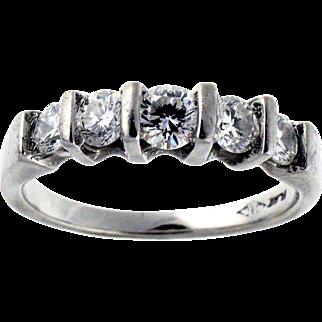 Classic Five Stone Diamond and Platinum Ring