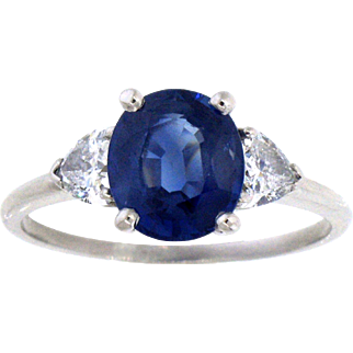 Dazzling Sapphire and Diamond Three Stone Platinum Ring