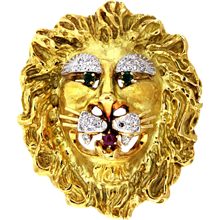 Hammerman Brothers Emerald, Ruby and Diamond 18 Karat Gold Lion Pendant and Brooch