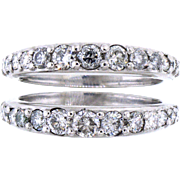 Pair of Diamond and 14 Karat White Gold Graduated Half Eternity Bands