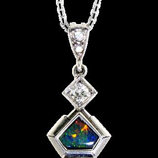 Custom Black Opal & Diamond Pendant in 14 karat