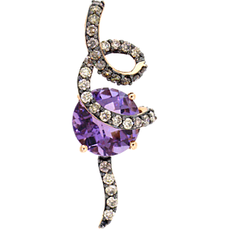 LeVian Amethyst and Diamond Swirl Pendant in 14 Karat Rose Gold