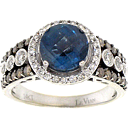 LeVian Blue Topaz and Diamond Ring in 14 Karat White Gold