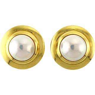 Classic Mabe Pearl and 18 Karat Gold Earrings