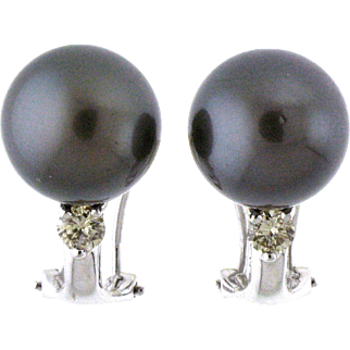 Tahitian Black Pearl and Diamond 18 Karat White Gold Earrings