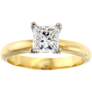 Radiant 14 Karat Princess Cut Diamond Solitaire