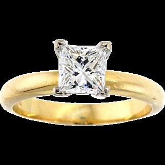 Radiant 14 Karat Princess Cut Diamond Solitaire