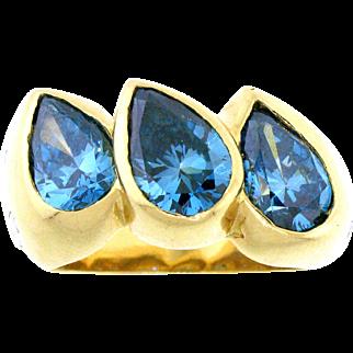 Stunning Blue Diamond Statement Ring in 18 Karat Gold