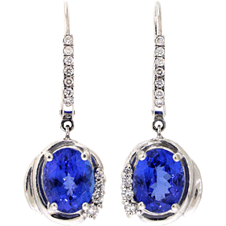 Vibrant Tanzanite and Diamond 14 Karat White Gold Earrings