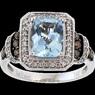 LeVian Aquamarine, White Diamond and Chocolate Diamond Ring in 14 Karat White Gold