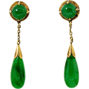 Natural Emerald Green Jadeite Jade Dangle Earrings in 14 karat