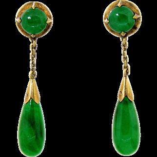 Natural Emerald Green Jadeite Jade Dangle Earrings in 14 karat