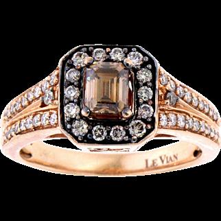 LeVian Emerald Cut Chocolate Diamond Halo Ring in 14 Karat Rose Gold