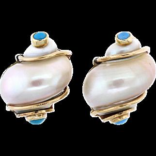 Gorgeous Seaman Schepps 14 Karat Shell Earrings