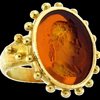 Captivating Elizabeth Locke Intaglio Ring in 18 Karat