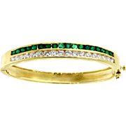 Classic Emerald and Diamond Bangle Bracelet in 14 Karat Yellow Gold