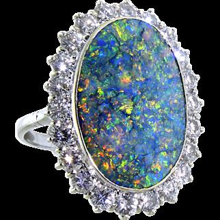 Mesmerizing Opal and Diamond Ring in 18 Karat White Gold