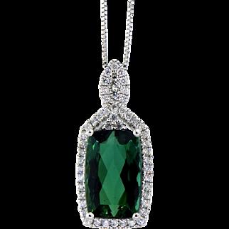 Vibrant Green Tourmaline and Diamond Pendant Necklace in 14 Karat White Gold