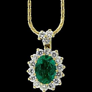 Marvelous Emerald and Diamond Pendant Necklace