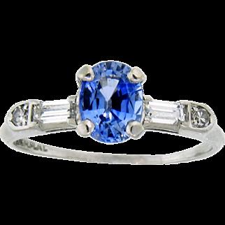 Lovely Sapphire, Diamond and Platinum Ring
