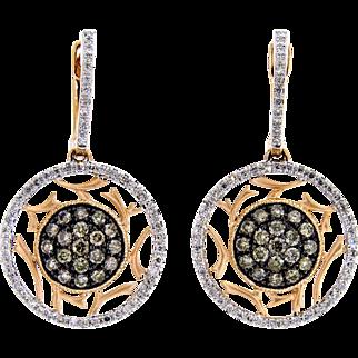 Sparkling Chocolate and White Diamond Circle Earrings in 14 Karat Rose Gold