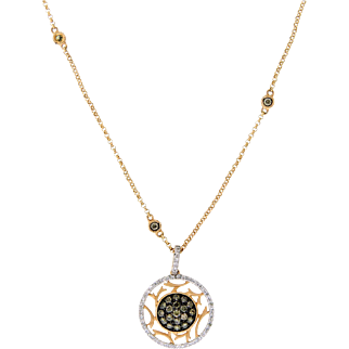 Sparkling Chocolate and White Diamond Circle Pendant Necklace in 14 Karat Rose Gold