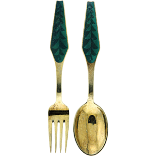 Sorenco Gilded Silver Christmas Spoon and Fork Collectible Set 1966